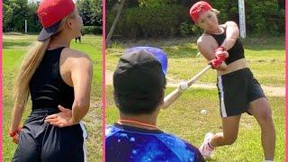 金髪Tバック野球女子がノーパンへそ出し身軽スタイルでエグい投球&打球連発!ムコウズ4番候補に名乗りを上げる…。