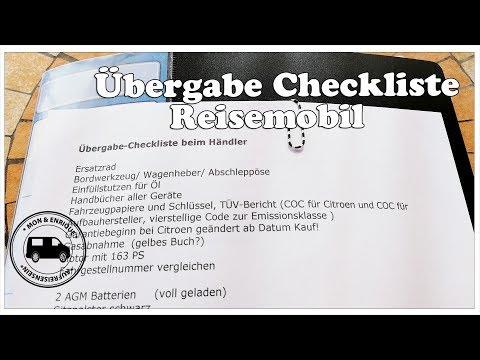 Übergabe Checkliste Reisemobil beim Händler