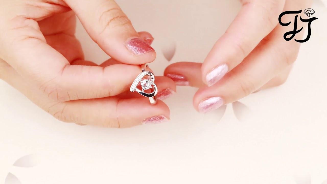 Silver Heart Wedding Ring | Eternity Rings - FarJary - YouTube
