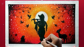 Janmashtami Special Oil Pastel drawing for beginner - Step by step