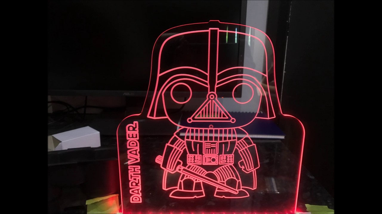 Darth Vader Rgb Led Edge Lit Acrylic Sign Cnc Engraved