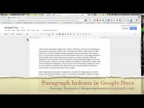 Paragraph Indents - Google Docs - YouTube