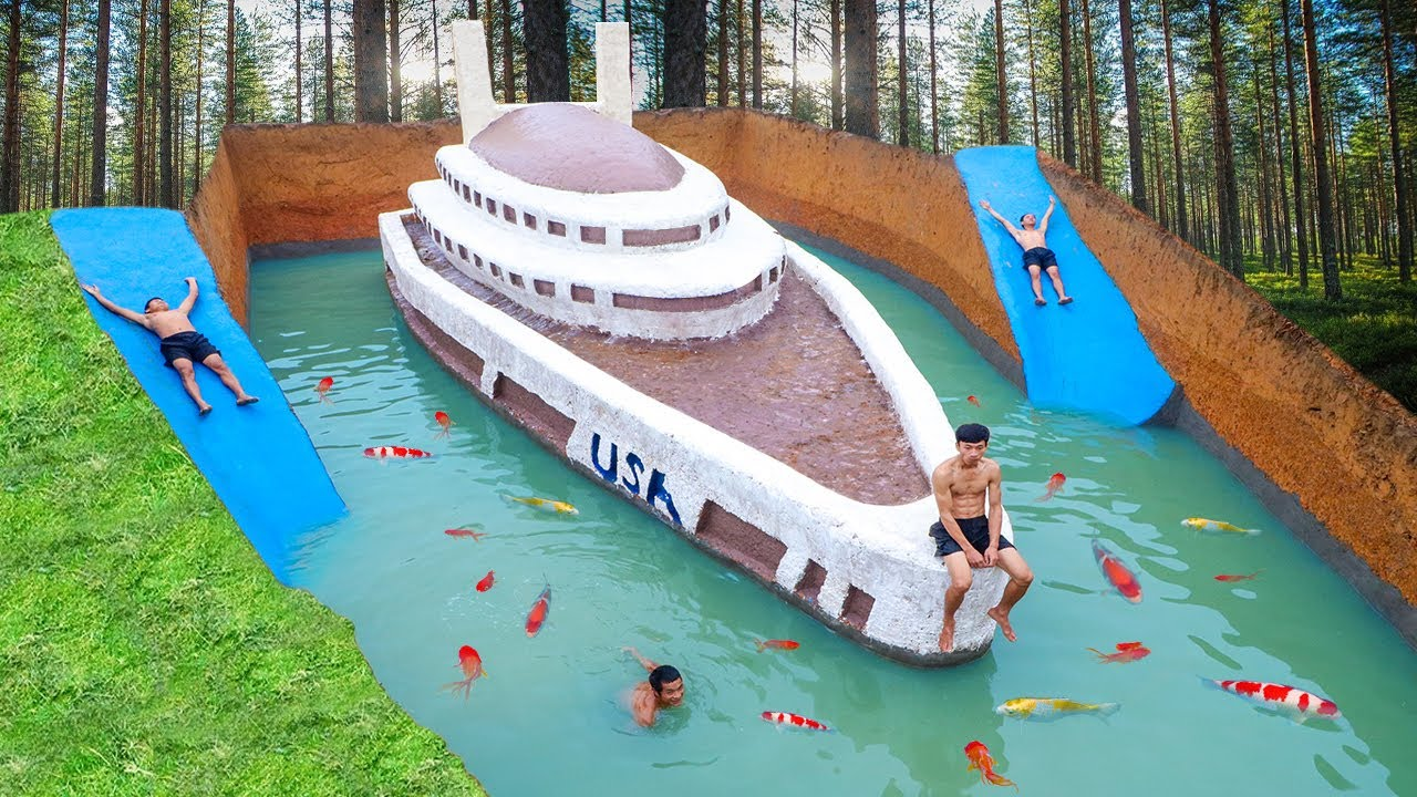 Download Awesome Build Three Story Boat Villa House & Water Slide Swimming Pool