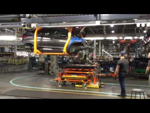 Blue for Bolt  - Battery in 2017 Chevy bolt all-electric EV at Orion Assembly line