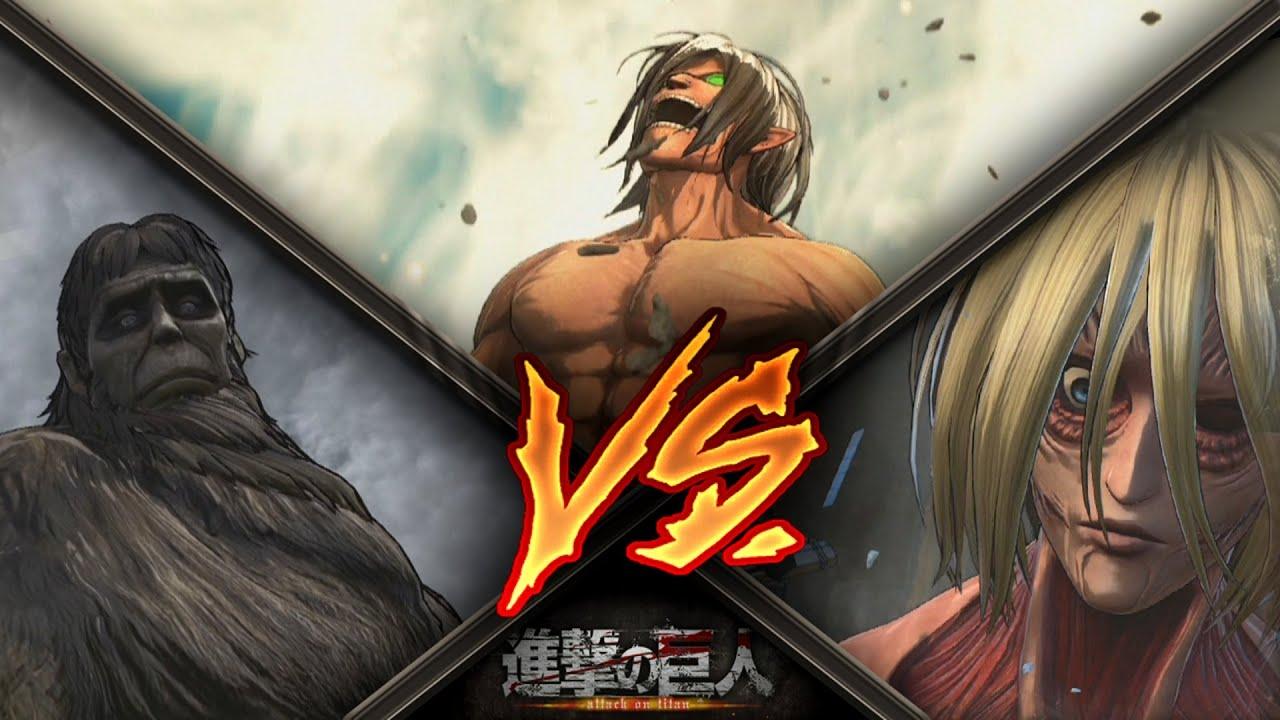 Attack on Titan / Eren Titan Form Vs Female Titan & Ape Titan ...