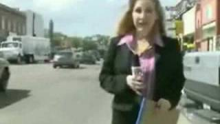 angry woman news reporter fights heckler