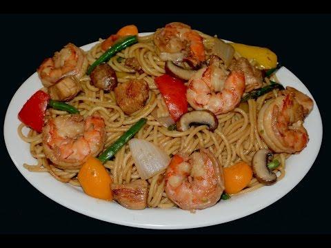 Chow mein con camarones y pollo - comida china