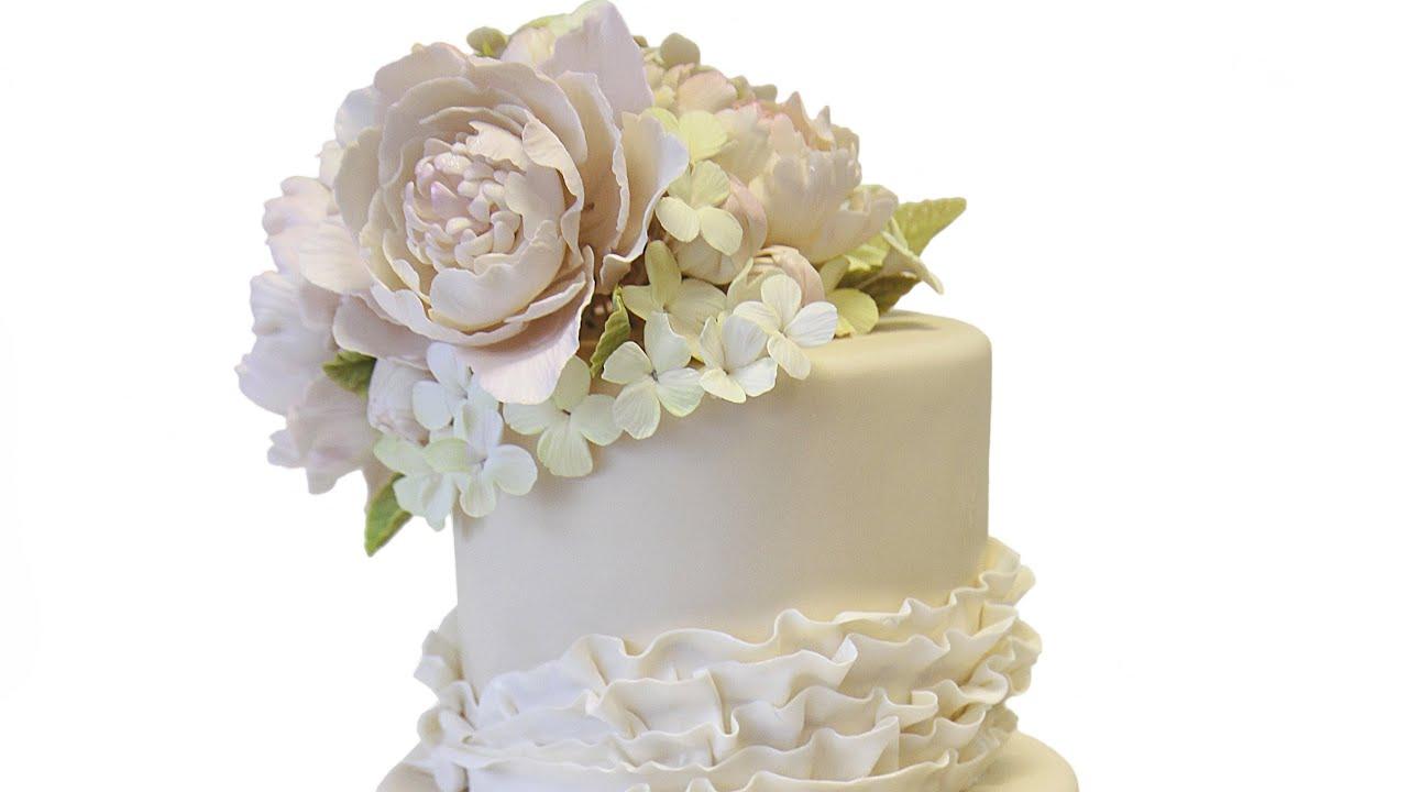 Lace Ruffle Wedding Cake - YouTube