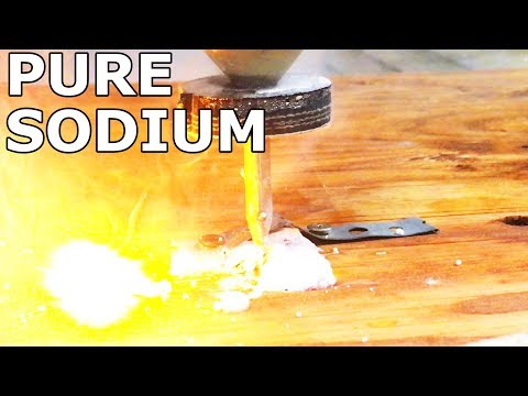 Pure Sodium Metal Cut in Half W A 60000 PSI Waterjet - Explosive - Cody&39;s Lab
