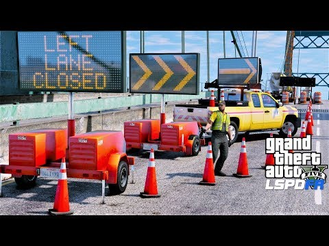 GTA 5 Mod DOT Message Board Truck & Trailer Update - Traffic Control At Bridge Construction Site