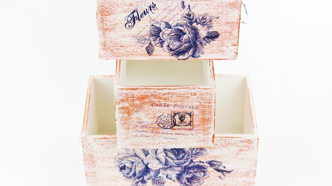 How to make a decoupage box , Painted box , Decoupage wooden box ,  Decoupage for beginners