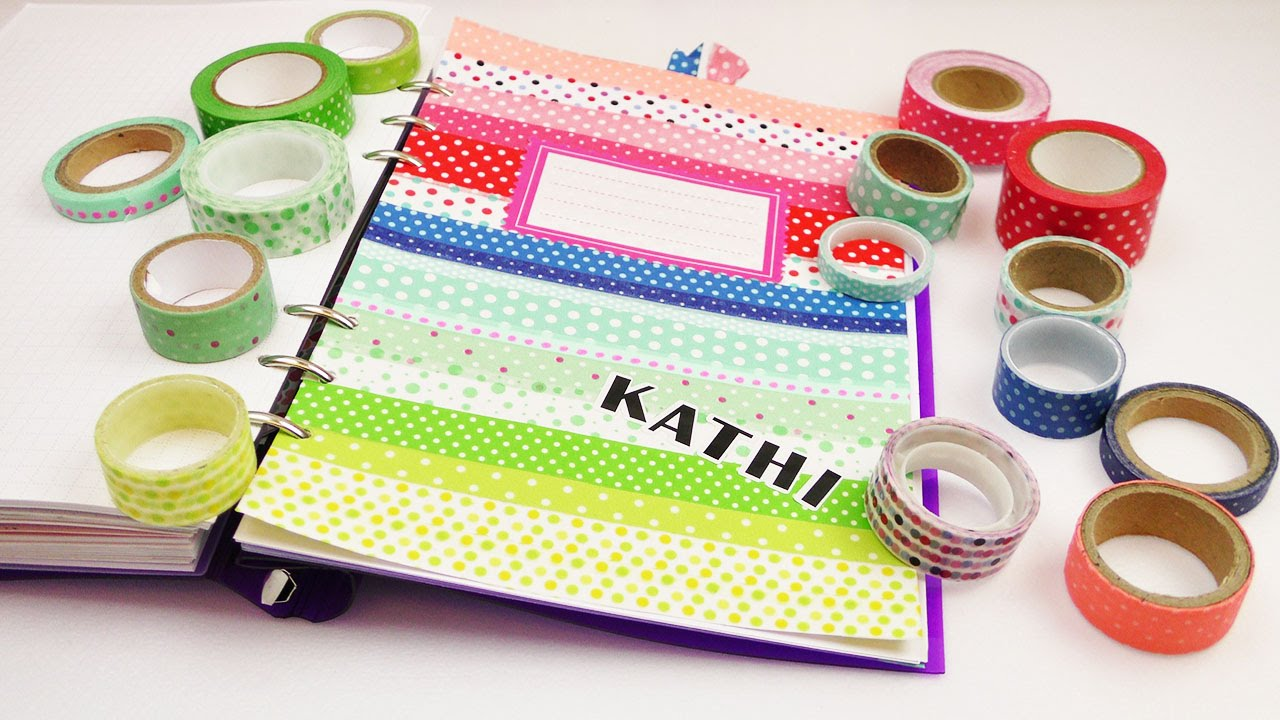 diy filofax register f r washi tape fans regenbogenmuster mit punkten kalender idee youtube. Black Bedroom Furniture Sets. Home Design Ideas