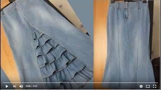 Как сшить юбку из джинсов ч1(Как сшить юбку из джинсов. Мастер класс. Сайт