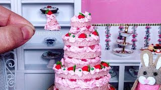 Real Edible Miniature Pink Strawberry Cake - Mini Food - Miniature Cooking Cusina ASMR