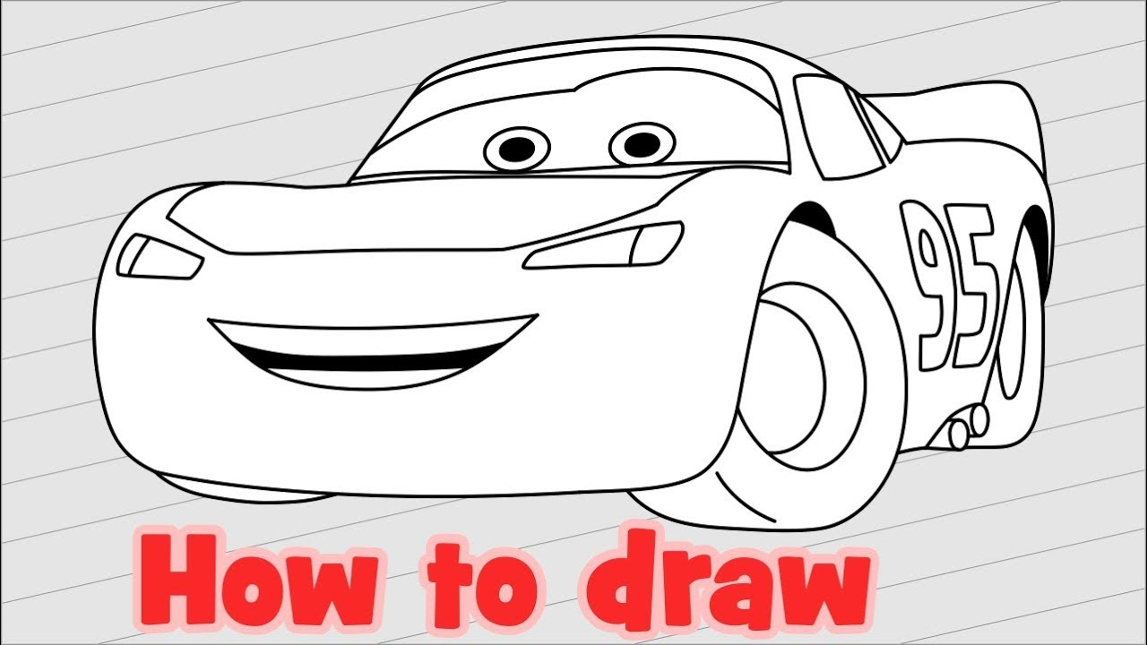 How to draw Disney Cars Characters Lightning McQueen - YouTube