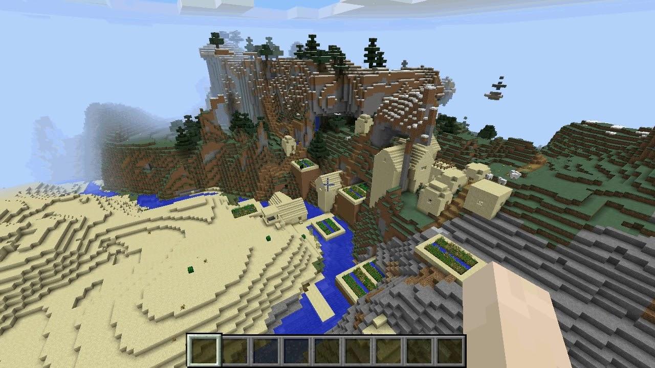 Minecraft 8.88.8 Seed 068: Desert village on extreme hills