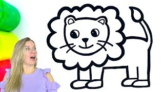 Lion coloring and drawing for kids, toddlers