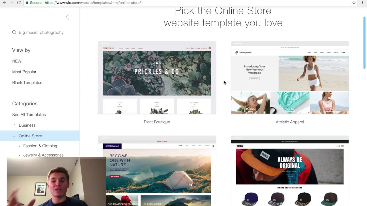 Creating An Ecommerce Store In Wix Choosing The Best Template - Wix ecommerce templates