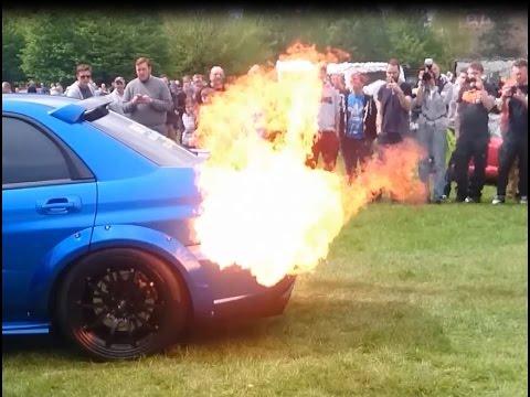 Subaru Impreza LOUD Pops, Backfire And HUGE Flames