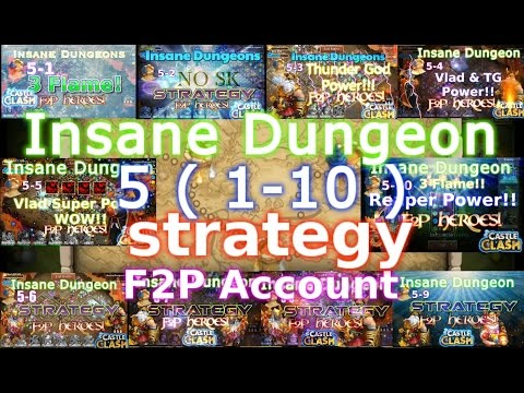 Castle Clash Insane Dungeon 5 (1-10)_ Strategy_F2P Account
