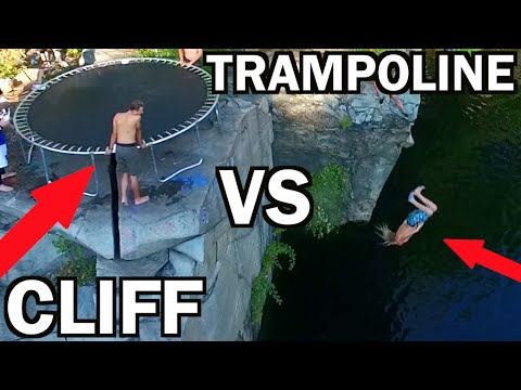 TRAMPOLINE VS CLIFF!!! *Do Not Attempt*