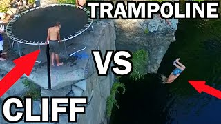 TRAMPOLINE VS CLIFF!!! *Do Not Attempt*