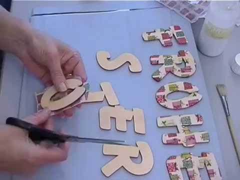Buchstaben mit Serviettentechnik auf Holz selber machen - YouTube