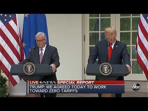 President Trump, EU President make joint statement in Rose Garden
