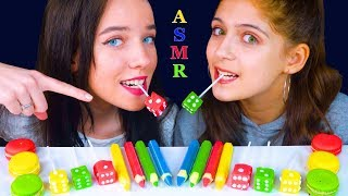 ASMR EDIBLE CHOCOLATE PENCILS, DICE CANDY, MACARONS, SPARKLING WATER JELLY HITSCHIES (EATING SOUNDS)