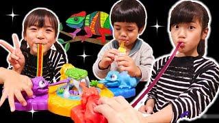 ベロがビヨ〜ン!意外とハマったおもちゃ♪はらぺこカメレオン
