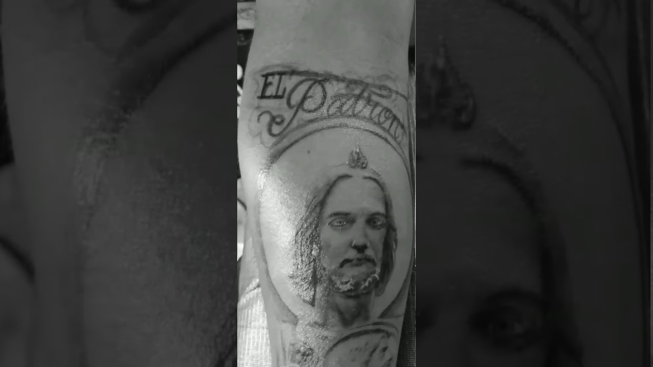 Tattoo of St. Jude, 2nd Session, and custom lettering by Mr. De Paz