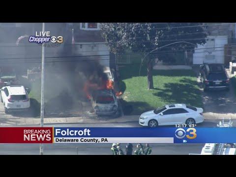 Falling Live Wire Sets Car On Fire In Folcroft
