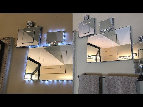 home-decor-diy-||-perfume-bottle-wall-mirror-w/-remote-controlled-led-lighting