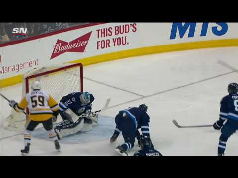 Penguins chase Hellebuyck with three goals in 57 seconds