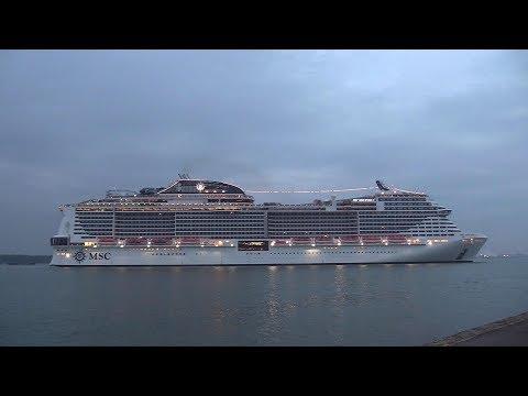 MSC Cruise Ship | 'MSC Meraviglia' calls into Southampton from Genoa Italy  24/04/19