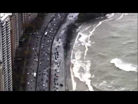 Lake Shore Drive in Chicago Flooding Due to High Winds