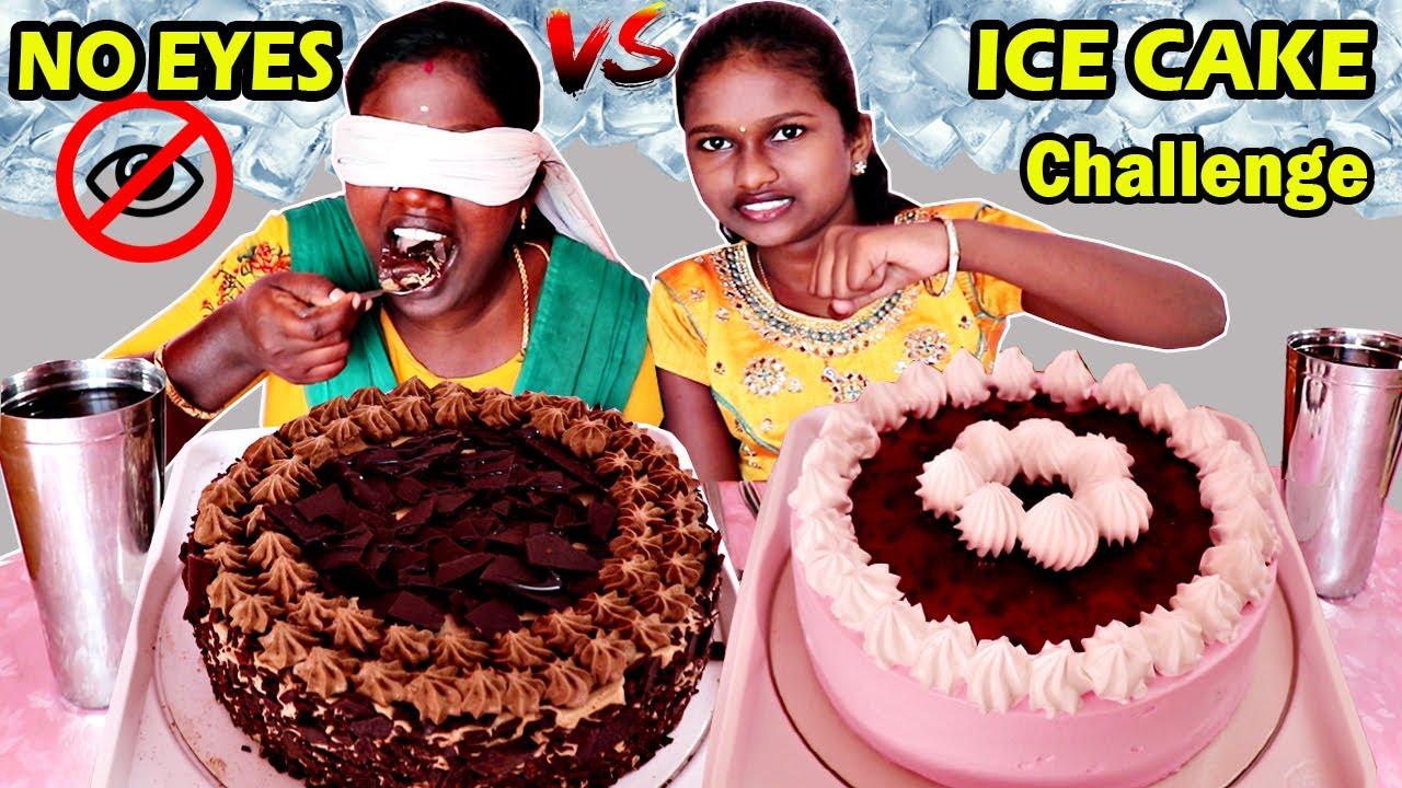 RICH CHOCOLATE vs CHERRY BROWNIE ICE CAKE EATING CHALLENGE IN TAMIL FOODIES DIVYA vs ANUSHYA