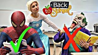Frozen Elsa School DANCE w/ Amazing Spiderman Joker - Fart battle in real life - Funny Superheroes