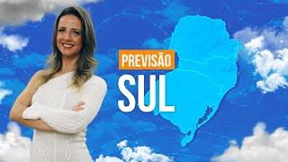 Previsão Sul - Chuva forte entre RS e SC