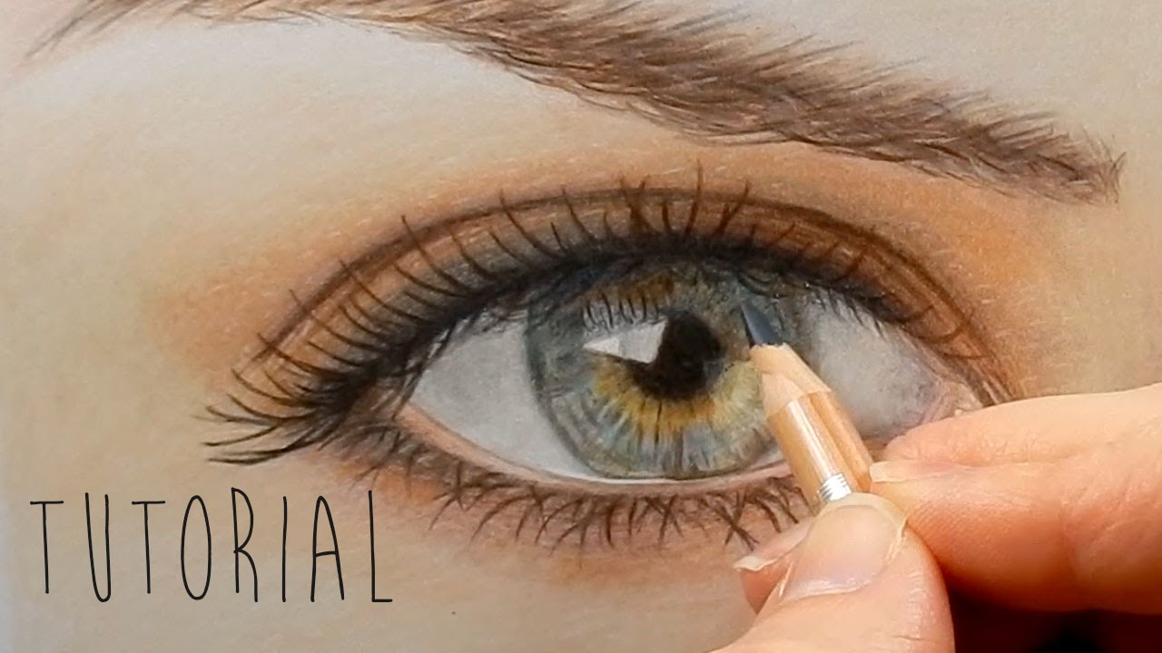 Tutorial | How to draw color a realistic eye and eyebrow with ...
