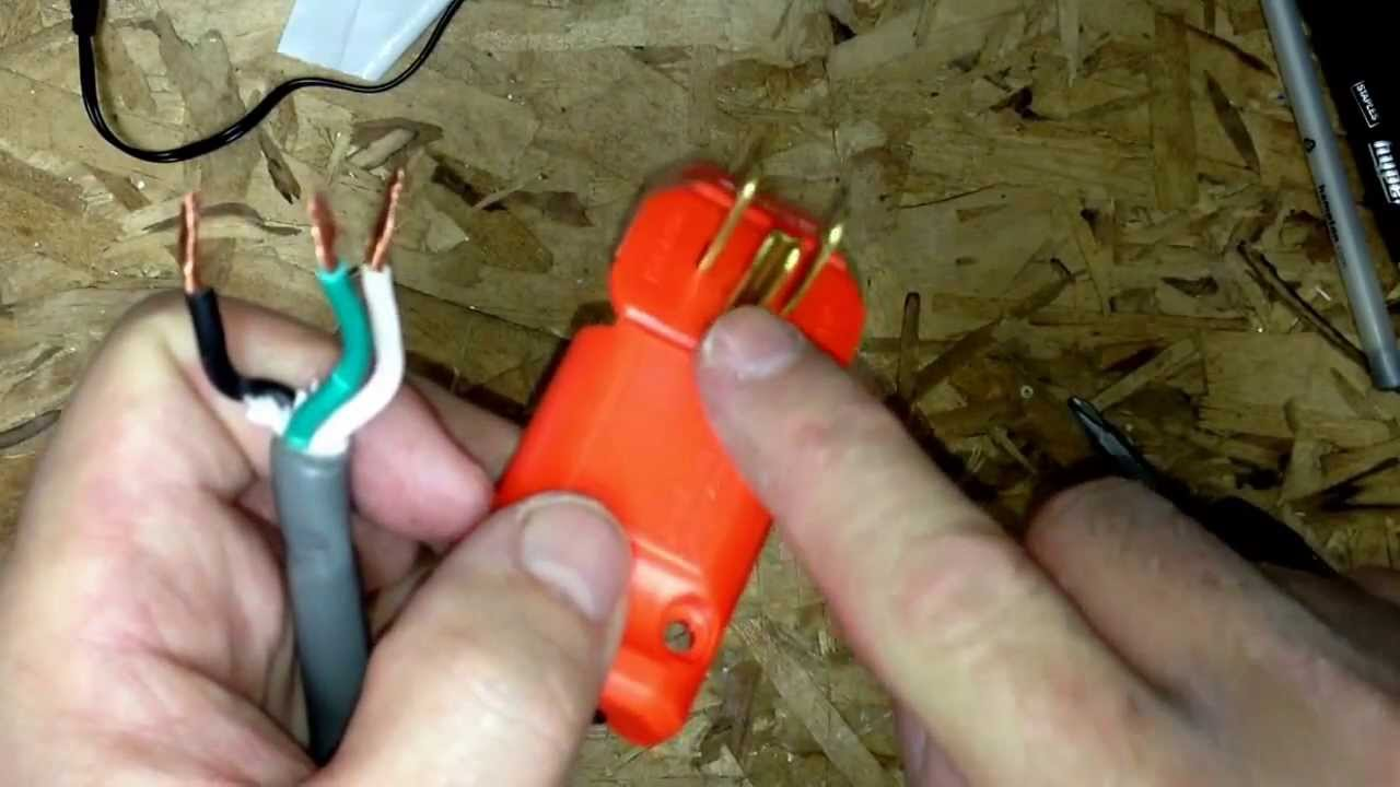 how to replace a male plug on your extension cord youtube rh youtube com Extension Cord Ground Wire Extension Cord Color Line Drawing