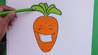 Como dibujar y pintar a Zanahoria Sonriente - How to draw and paint Carrot Smiling