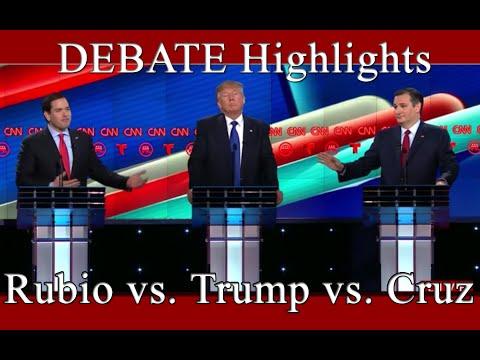 CNN Republican Debate Highlights - Rubio vs. Trump vs. Cruz - 2/25/2016