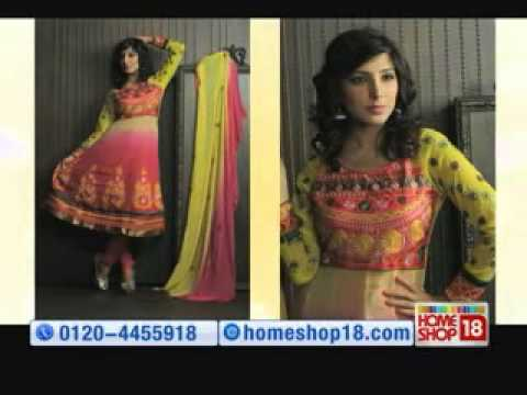 d5ffae9bf37 HomeShop18.com - Pick any 1 Designer Semi-Stitched Anarkali suit by Khazana  - YouTube