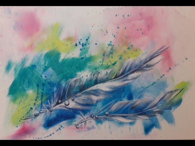 Elke malt - über die Schulter geschaut - Federn mit Wassertropfen