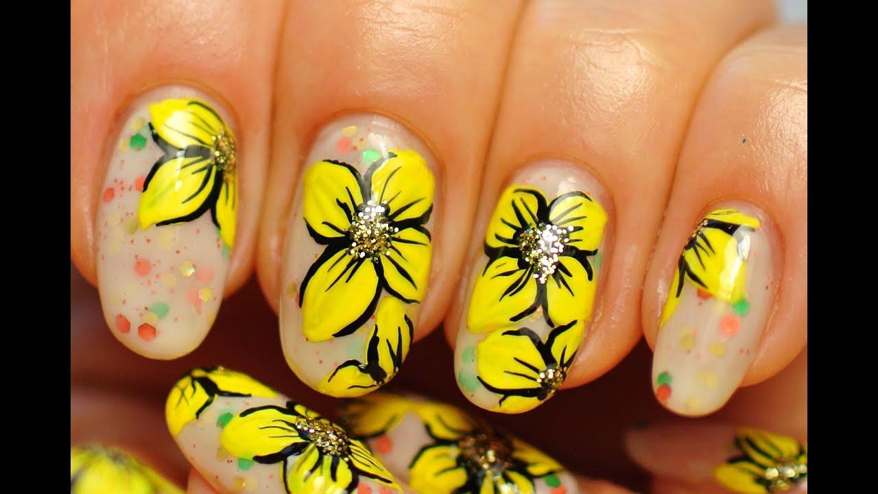 Nail Art Yellow Flowers Youtube