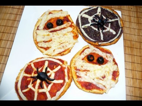 Spooky Mini pizzas for Halloween - YouTube