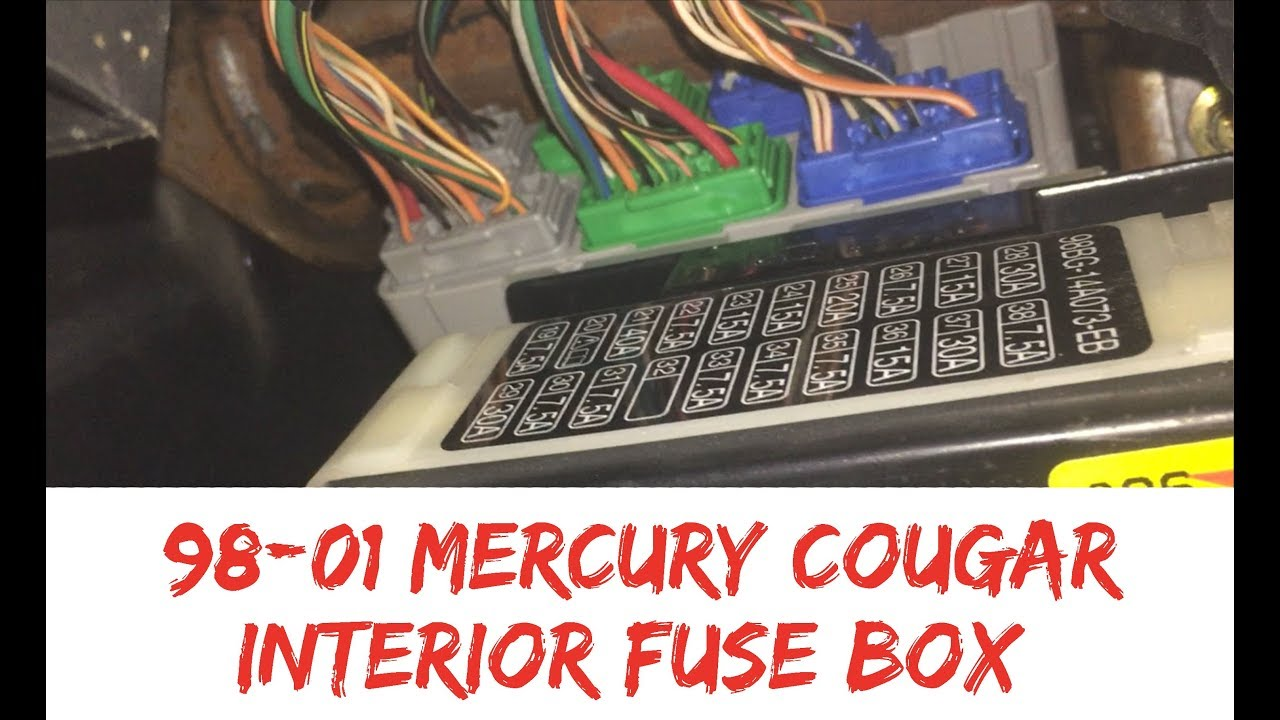 fuse box location 99-02 mercury cougar interior inside 1999 2000 2001 2002