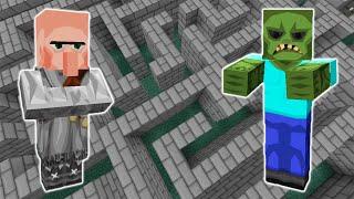 Зомби И Житель В Лабиринте Эксперимент Minecraft