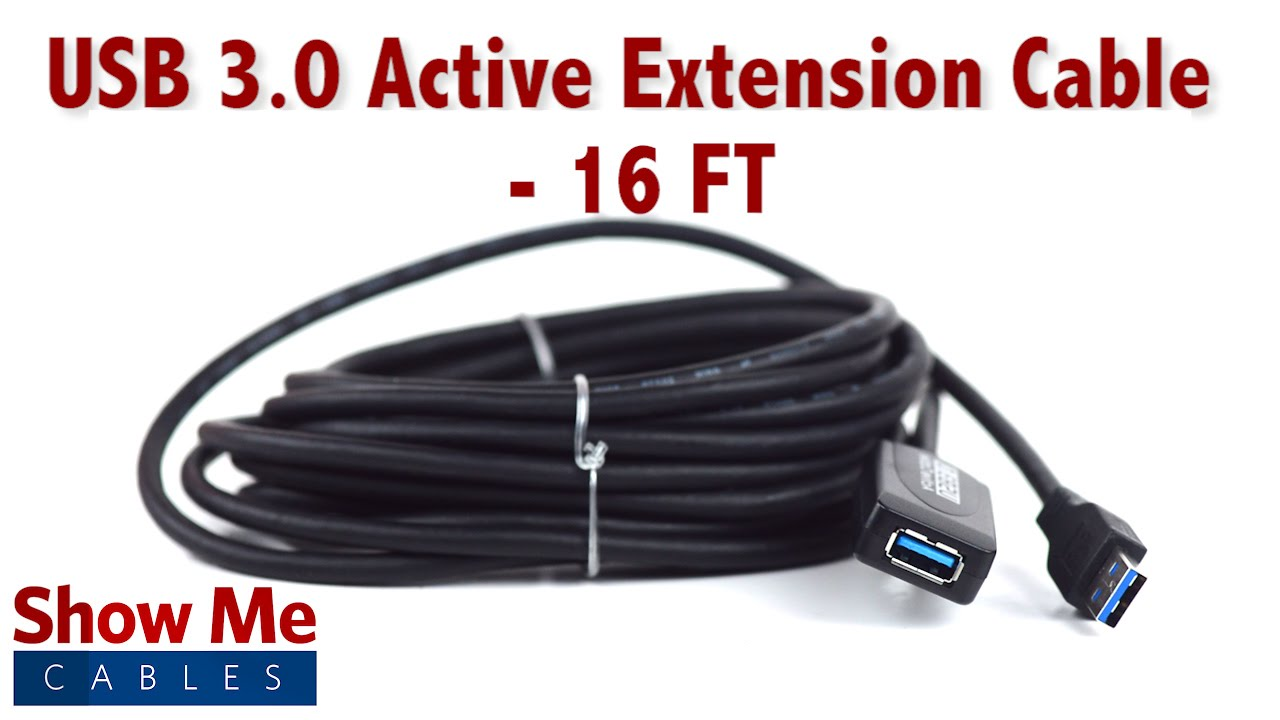 Easy To Use USB 3.0 Active Extension Cable - 16 FT #23-206-016 - YouTube